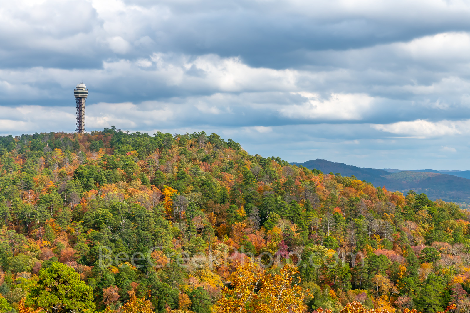 fall, tower mountain, colors, Hot Spring, Arkansas, National Forest, hill side, moody, skies, everygreen, pines, orange, pink, sugar maples, red maples, yellow, black hickory, sweet gym,, photo