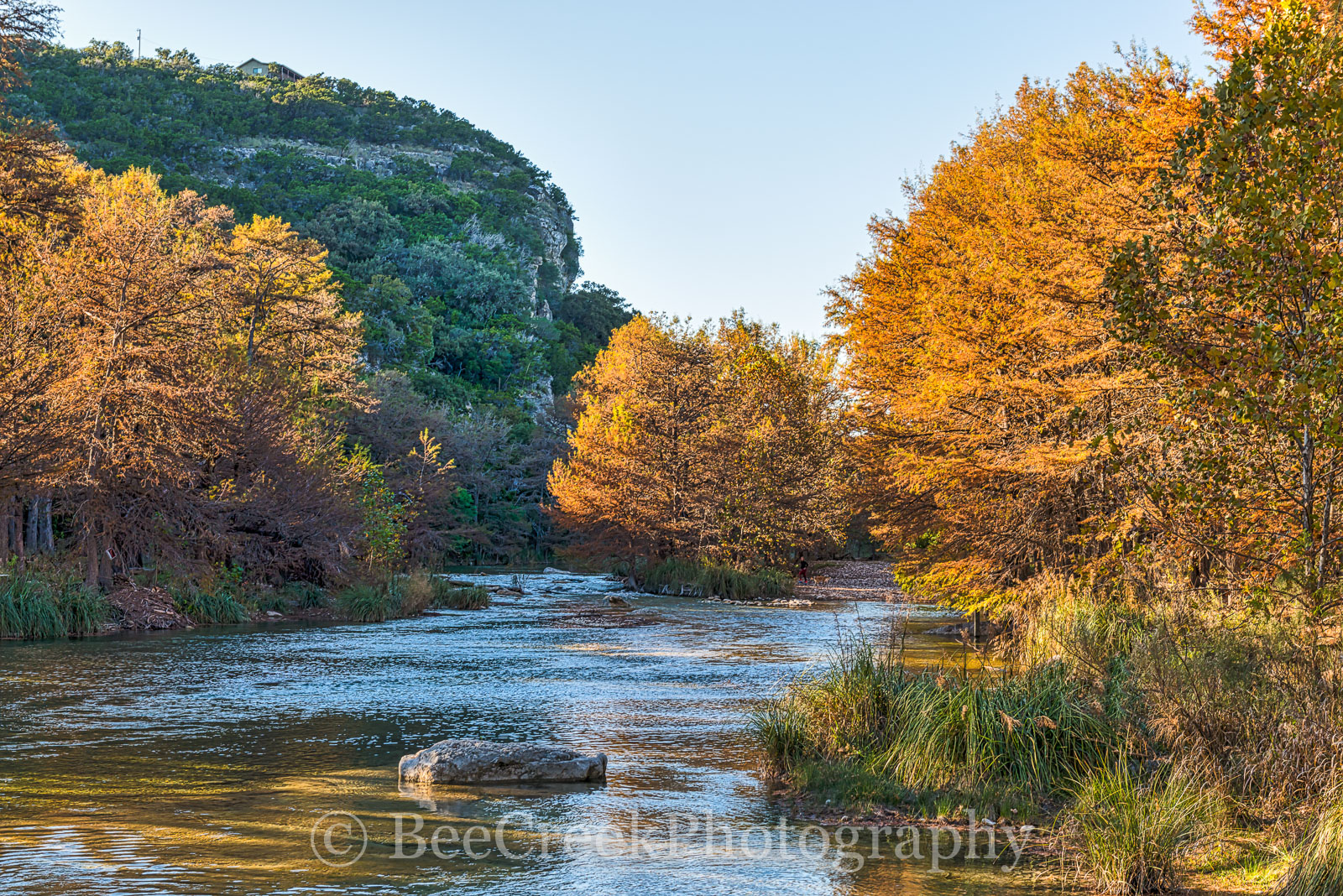 America, American, Concan, Texas Hill Country, River, clear, colors, cool, cypress, fall, flowing, images of Texas, landscape, landscapes, orange, photos of Texas, pirctures of texas, rocks, rural, ru, photo