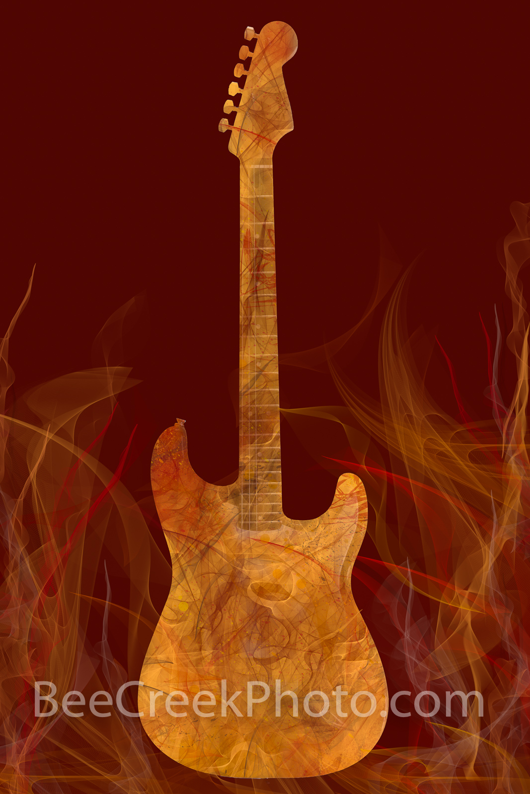 Fiery Fender Abstract Vertical - Fender guitar on fire abstract art. This abstract digital painting depicts a fender guitar on...