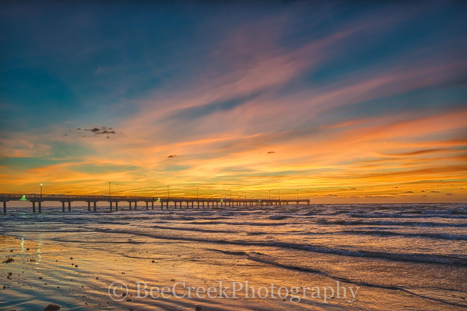 Caldwell fishing pier, Port A, Port Aransas, Sunrise, Texas Coast, Texas beach, beach, coast, colorful skies, fiery red sky, landscape, landscapes, ocean, sand, sea weed, seascape, shore, surf, texas , photo