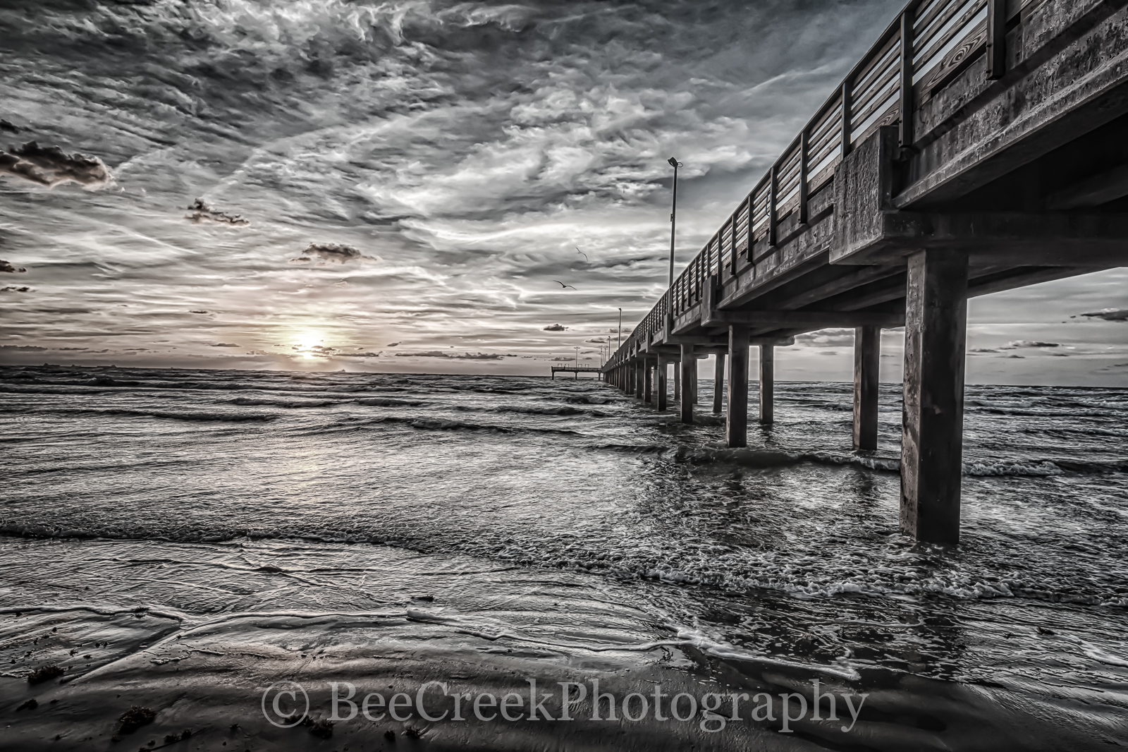 Sunrise, beach, black and white, clouds, coast, coastal, fishing pier, gulf, sand, surf, texas, texature, wooden, photo