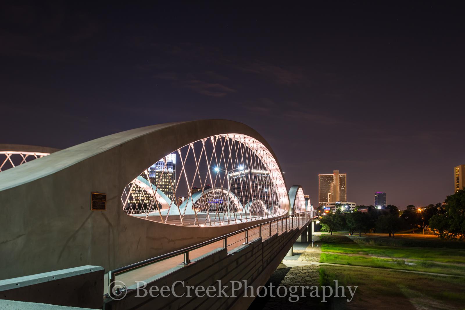 Fort Worth Tx, Fort Worth Bridge, Fort Worth Seventh Street Bridge, Ft Worth at night, Fort Worth cityscape, Fort Worth skyline, Trinity river, cityscapes, skyline, bidge, , photo