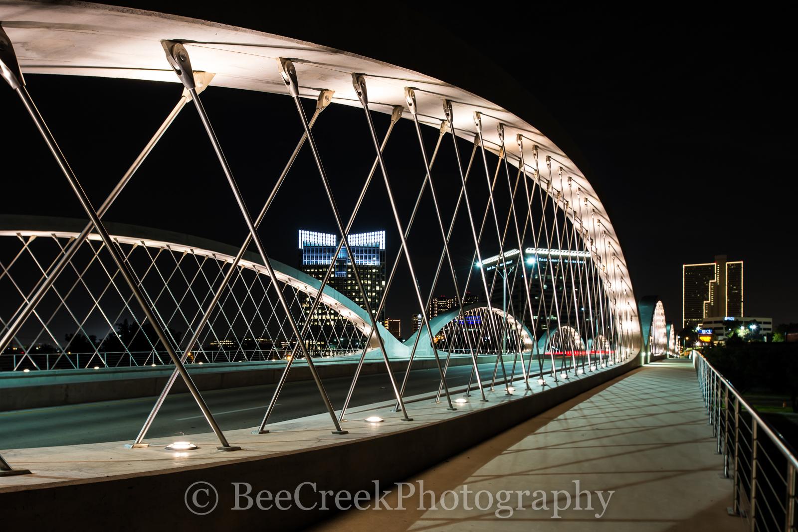 Fort Worth Bridge, Fort Worth Seventh Street Bridge, Fort Worth 7th Street Bridge,  cityscape, Fort Worth night skyline, photo