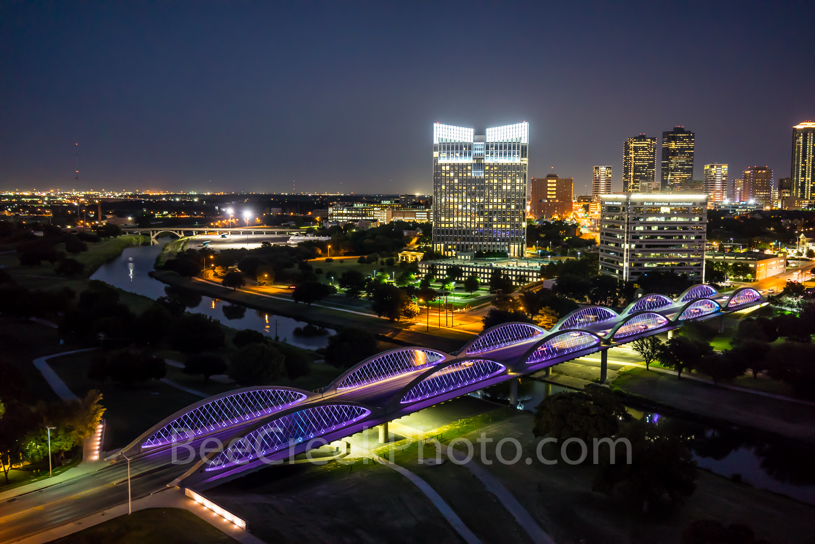 fort worth, ft worth, cityscape, cityscapes, downtown, twillight, seventh street bridge, 7th street bridge, trinity river, tarrant county, dfw metro, night, purple leds,skyline, skylines, reflections, photo