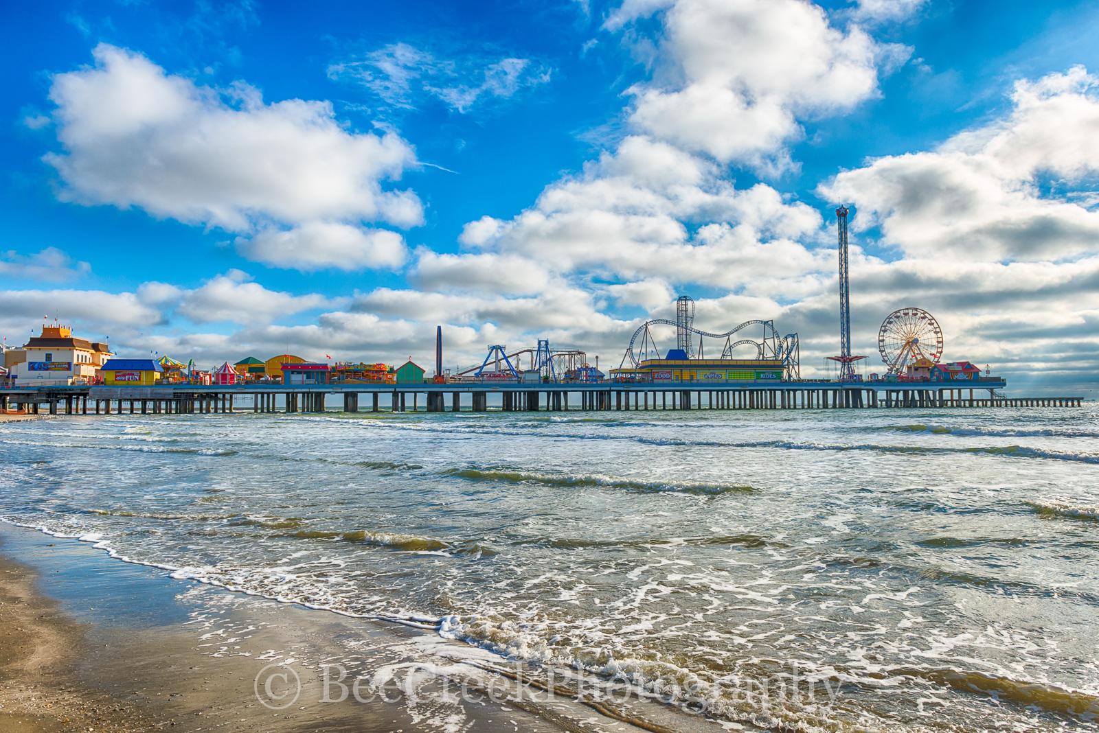 Galveston, Pleasure Pier, amusement park, beach, city, coast, family entertainment, island, party, seascape, tourist, water, gulf cost images, Texas beaches, photo
