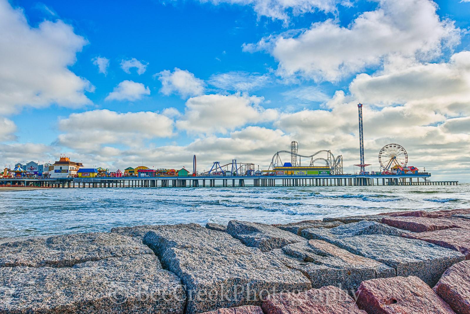Fun Pier, Galveston, Pleasure Pier, amusement park, beach, breakers, city, coast, family entertainment, granite, island, night, party, seascape, tourist, water, photo