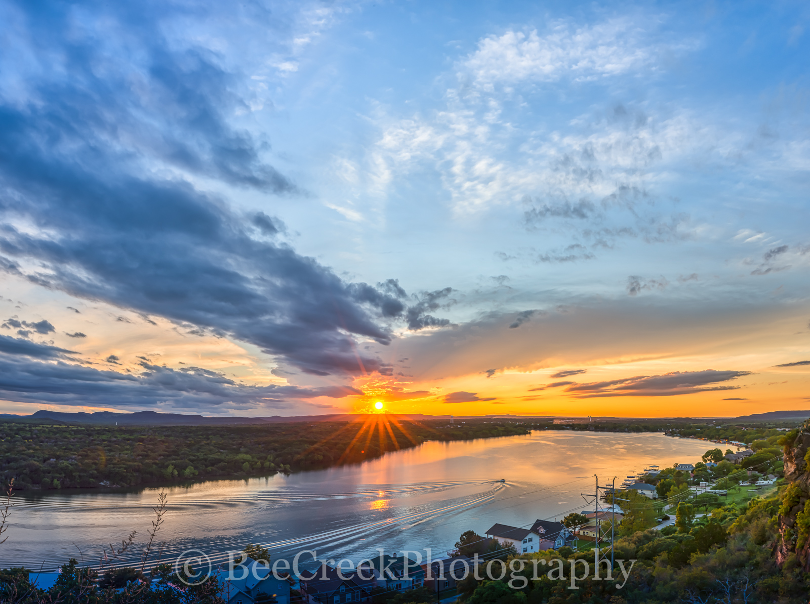 Hill Country, River, boat, boat trail, clouds, colorado river, colorful, dusk, glow, oranges, overlook, pinks, reds, sky, sunset, texas, trees, highland lakes, texas hill country, , photo