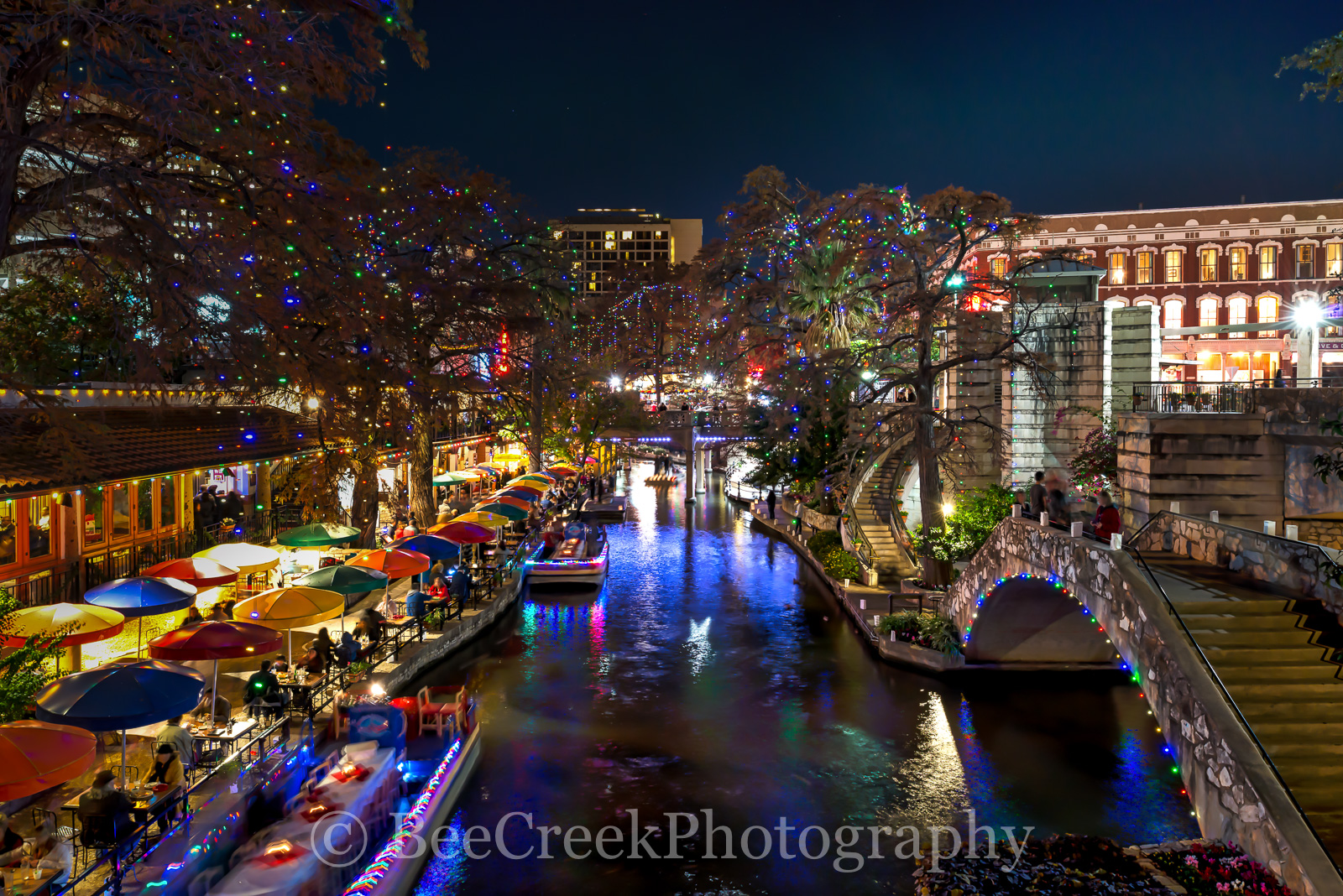 Christmas, River Walk, Riverwalk, San Antonio, boats, cityscape, cityscapes, decorations, festive, festivities, holiday, lights, season
