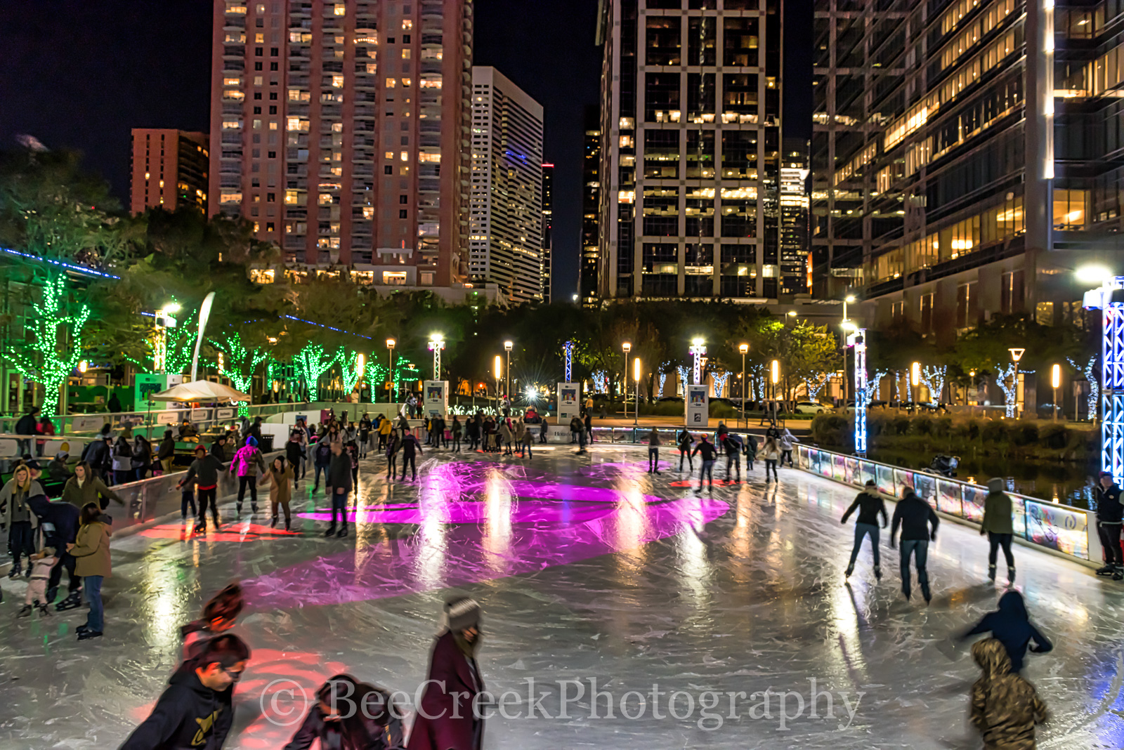 Discovery Green park, Houston, city, cityscape, cityscapes, downtown, festive, holiday, ice skating, lifestyles, people, season, urban, winter, photo
