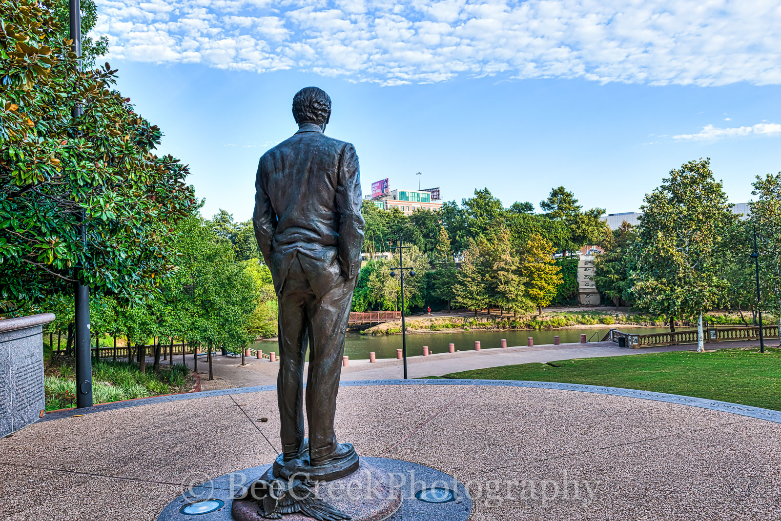 Houston, James Baker Statue, Sesquicentennial park, art district, blue sky, buffalo bayou, city, cityscape, cityscapes, clouds, downtown, landmark, monument, theater district, photo