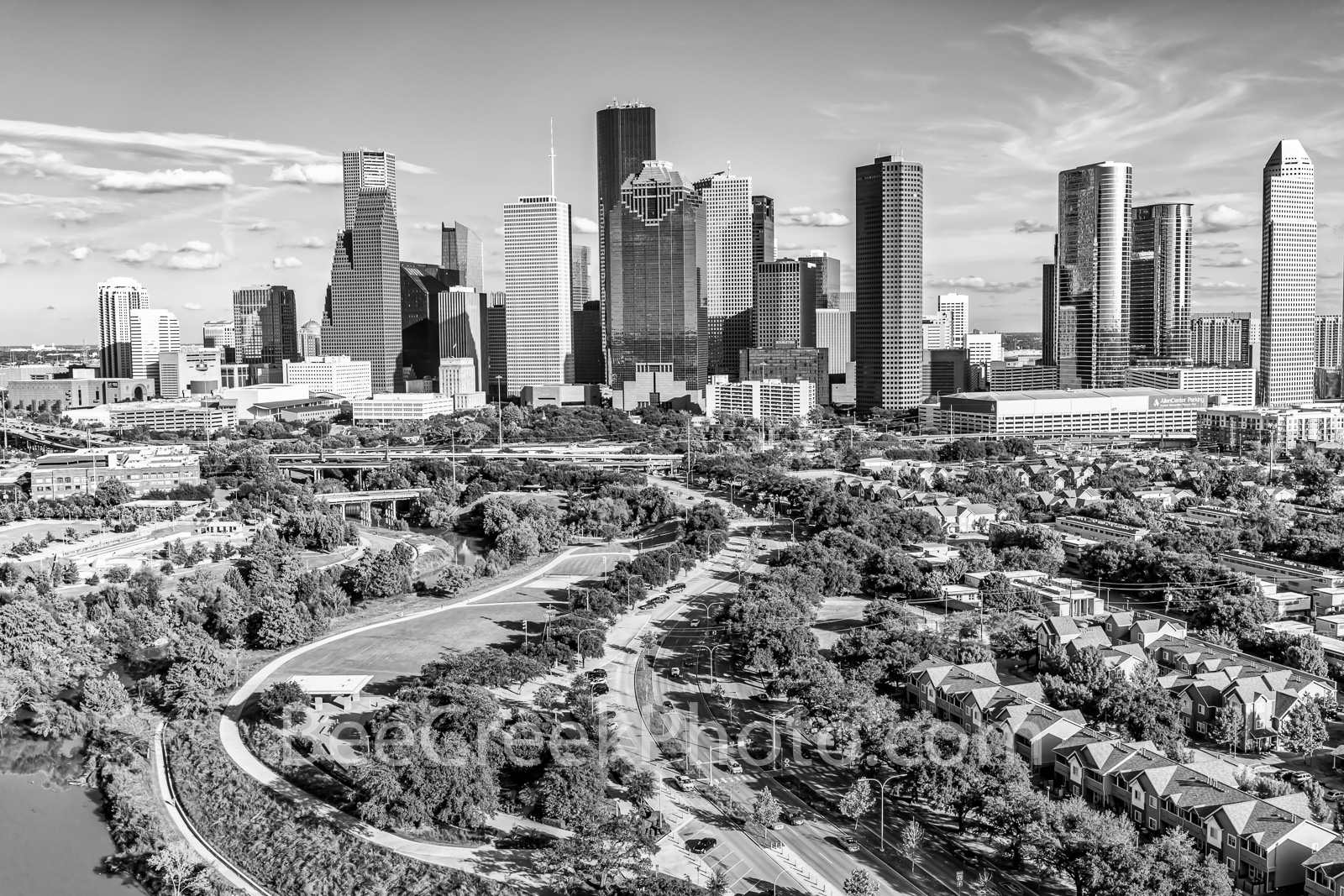 Houston, b w, aerial, houston skyline, skyscapers, southwest us, houston park, downtown houston, allen parkway, city, houston texas, harris county, , photo