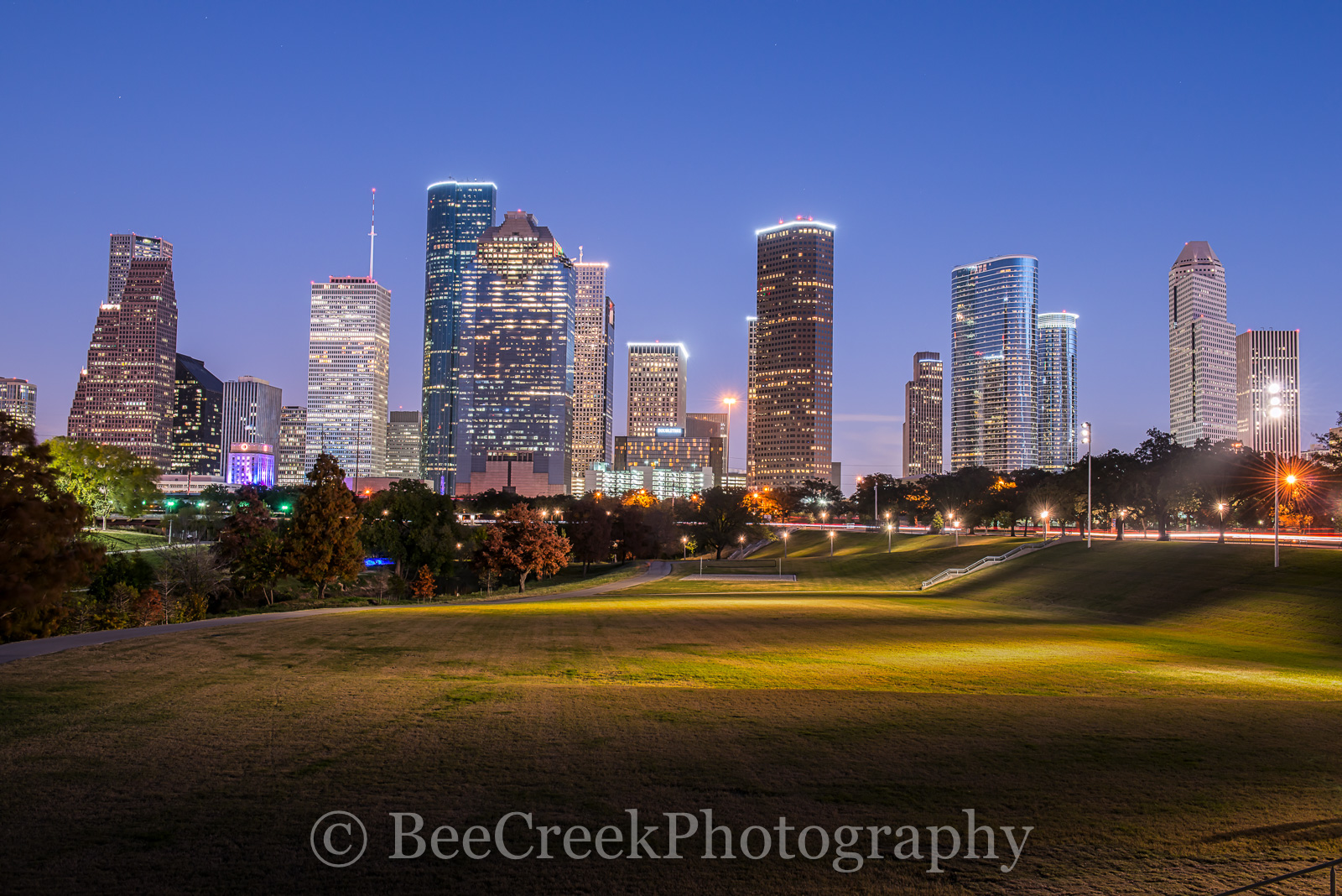 Houston, blue hour, buildings, city, cityscape, cityscapes, downtown, dusk, evening, high rise, lights, night, park, skyline, skylines, skyscrapers, tall, views