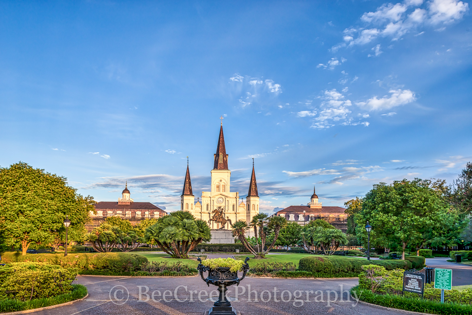 Cathedral, Jackson Square, Jackson statue, New Orleans, Saint Louis, blue sky, cityscape, cityscapes, garden, historic, landmark, landscape, landscapes, mississippi, morning, park, New Orleans citysca