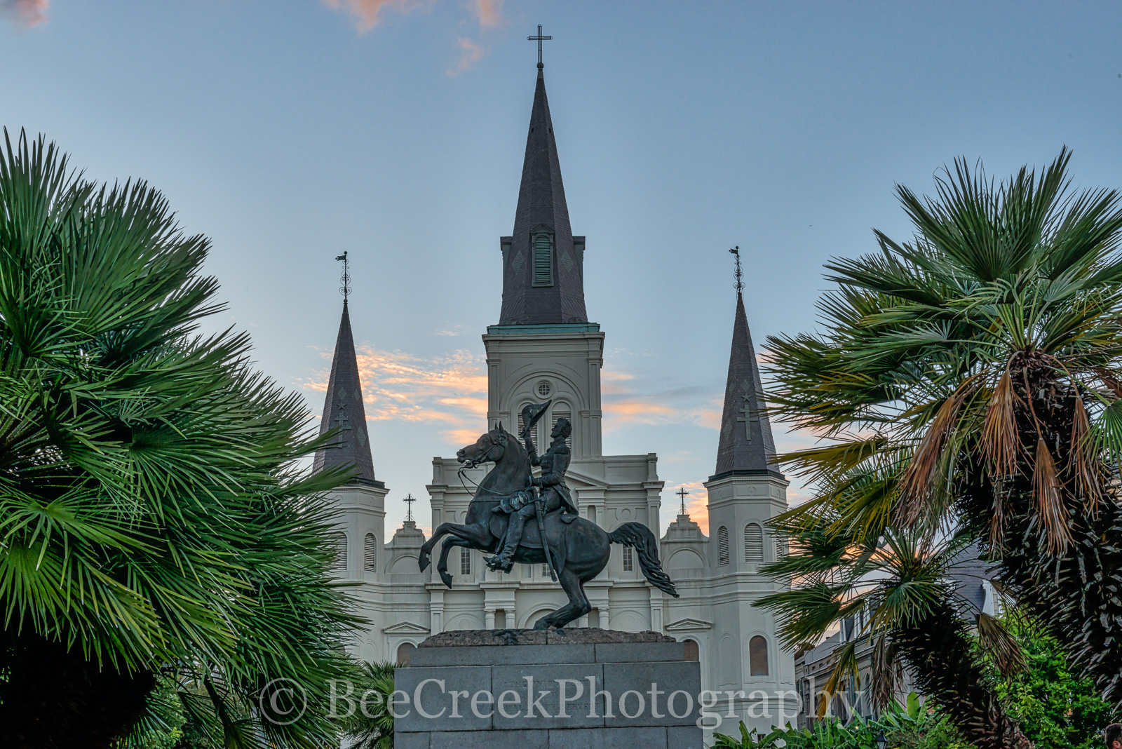 Jackson Square Statue , Jackson Square, New Orleans, Saint Lousi Cathedral, cityscape, cityscapes, downtown, dusk, statue, New Orleans cityscapes, french quarters, , photo