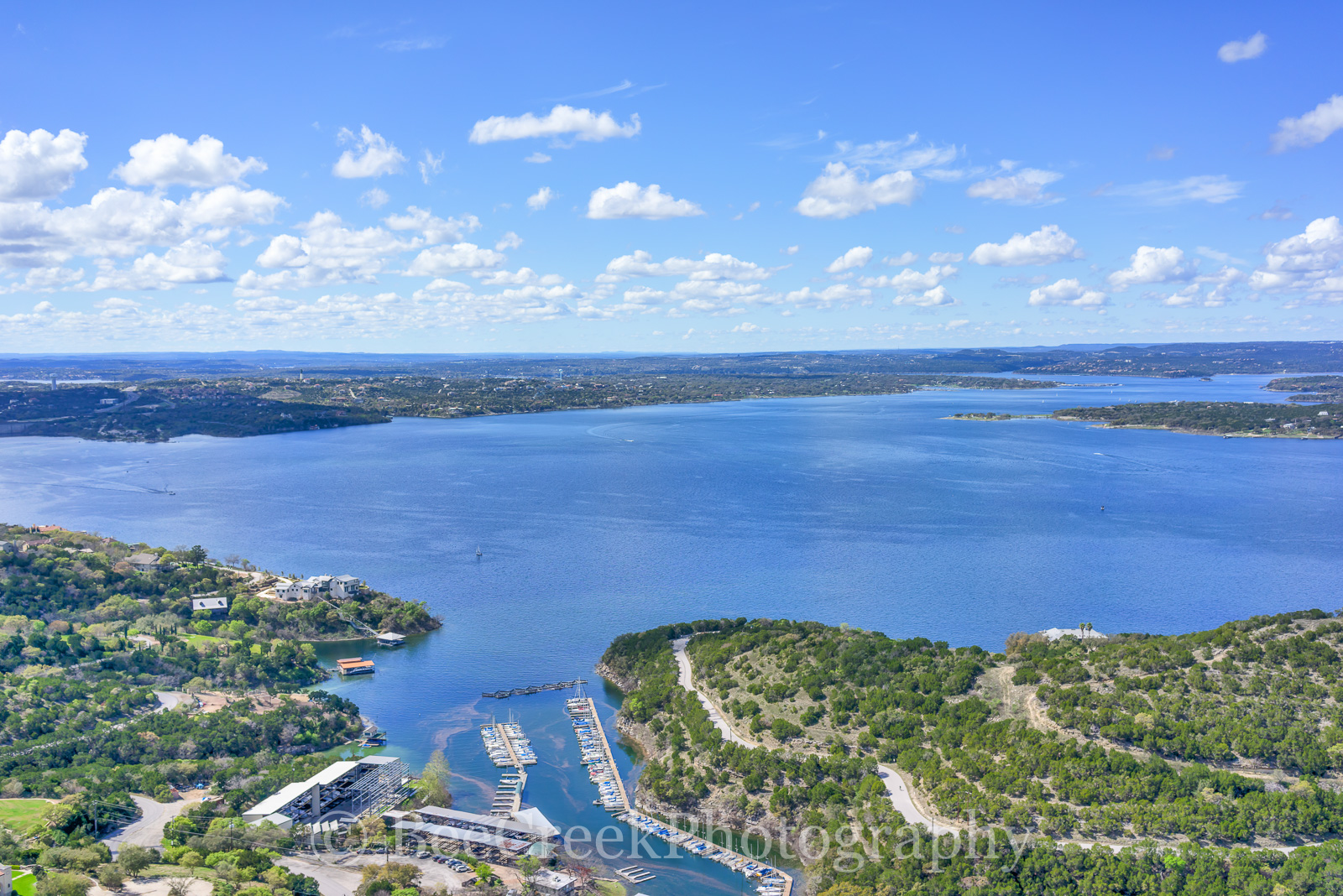 Austin, Lake Travis, aerial, blue sky, boating, clouds, day, lake, laketravis, landscape, marina, recreational, scenic, swimming, view, water sports, photo