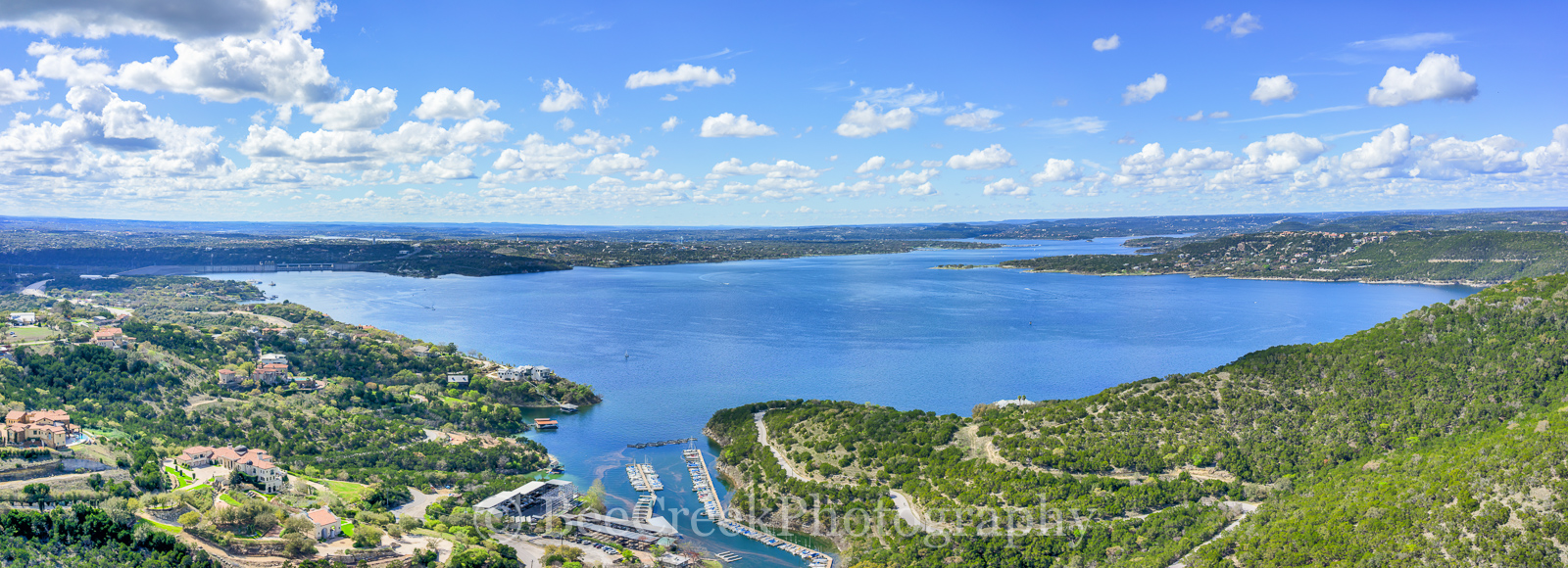 Austin, Hill Country, Lake Travis, aerial, blue sky, boating, boats, clouds, drone, lake, landscape, marina, pano, panorama, recreational, sailing, water, photo