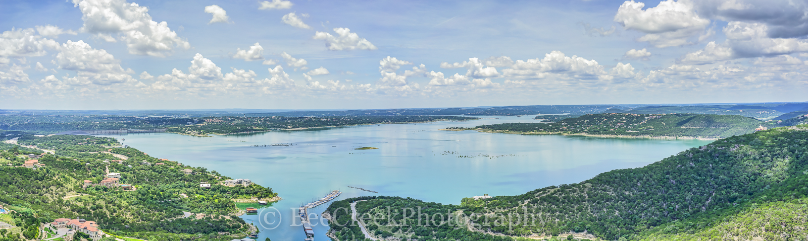 Austin, Lake Travis, aerial image, boats, dam, flood, pano, panorama, puffy clouds, sunshine, water, photo