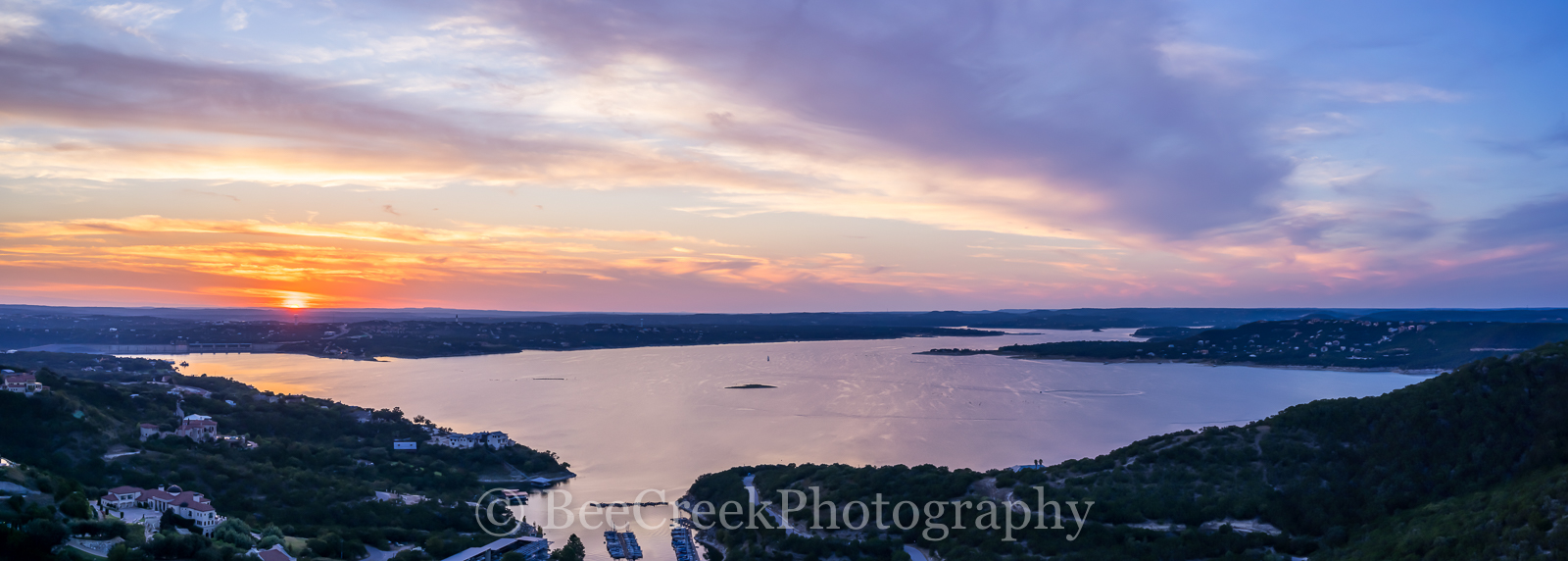 Austin, Hill Country, Lake Travis, pano, panorama, boat, boats, clouds, colors, glow, heavenly, orange, radiated, rays, scenic, spectactular, sunset, water, photo