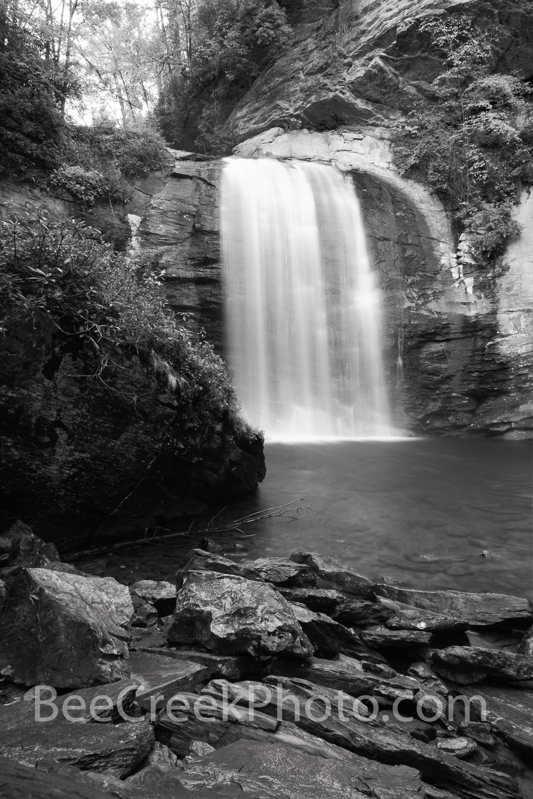 looking glass falls, black and white, B W, waterfalls, waterfall, falls, stream, rocks, slate, granite, geology, looking glass rock, 60 ft waterfall, creek, pisgah national forest, smoky national fore, photo