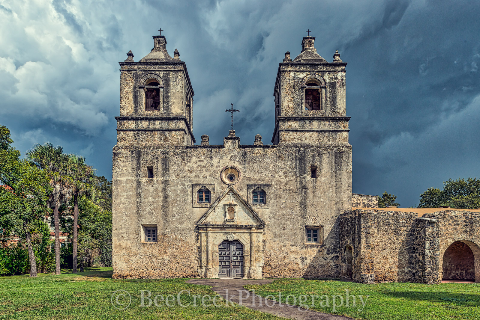 Battle of Concepcion, ConcepciÛn, Mission ConcepciÛn, National Historic Landmarks, San Antonio, downtown, historic, indians, landmark, mexicans, spanish missions, stormy skies, texas missions, texians, photo