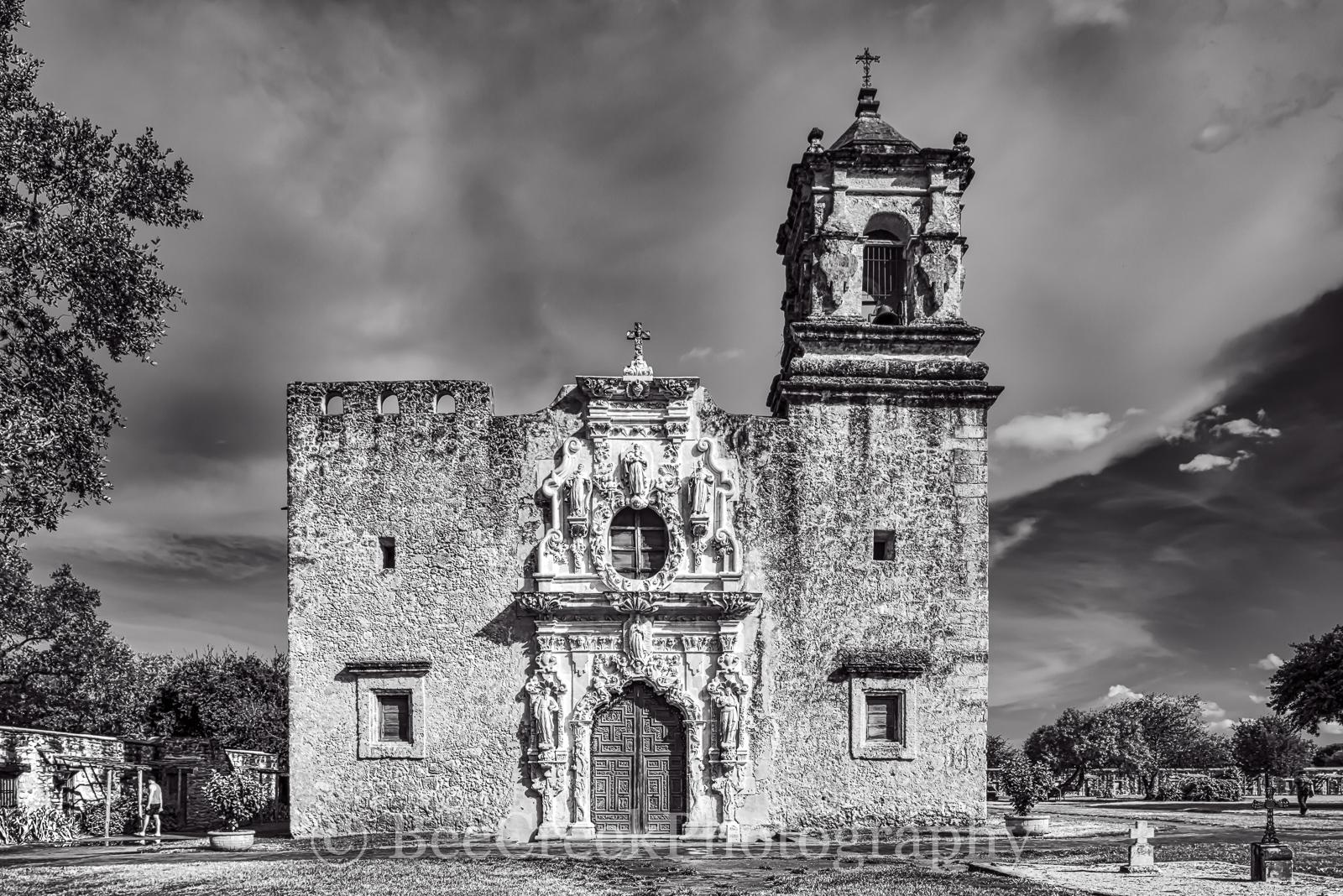 Mission San Jose, National Historic Landmarks, San Antonio, black and white, color, destinations, downtown, historic, indians, landmark, mexicans, spanish missions, texas missions, texians, tourist, t, photo