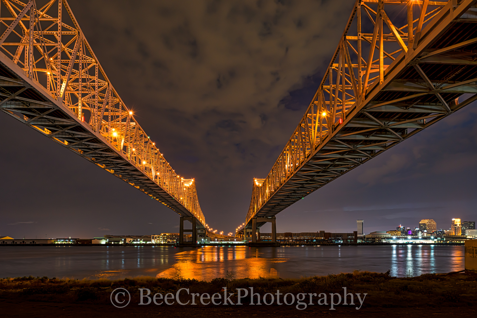 New Orleans, cityscape, cityscapes, dark, double bridges, lights, mississippi, night, reflections, river bridges, urban, water, New Orleans cityscapes, , photo