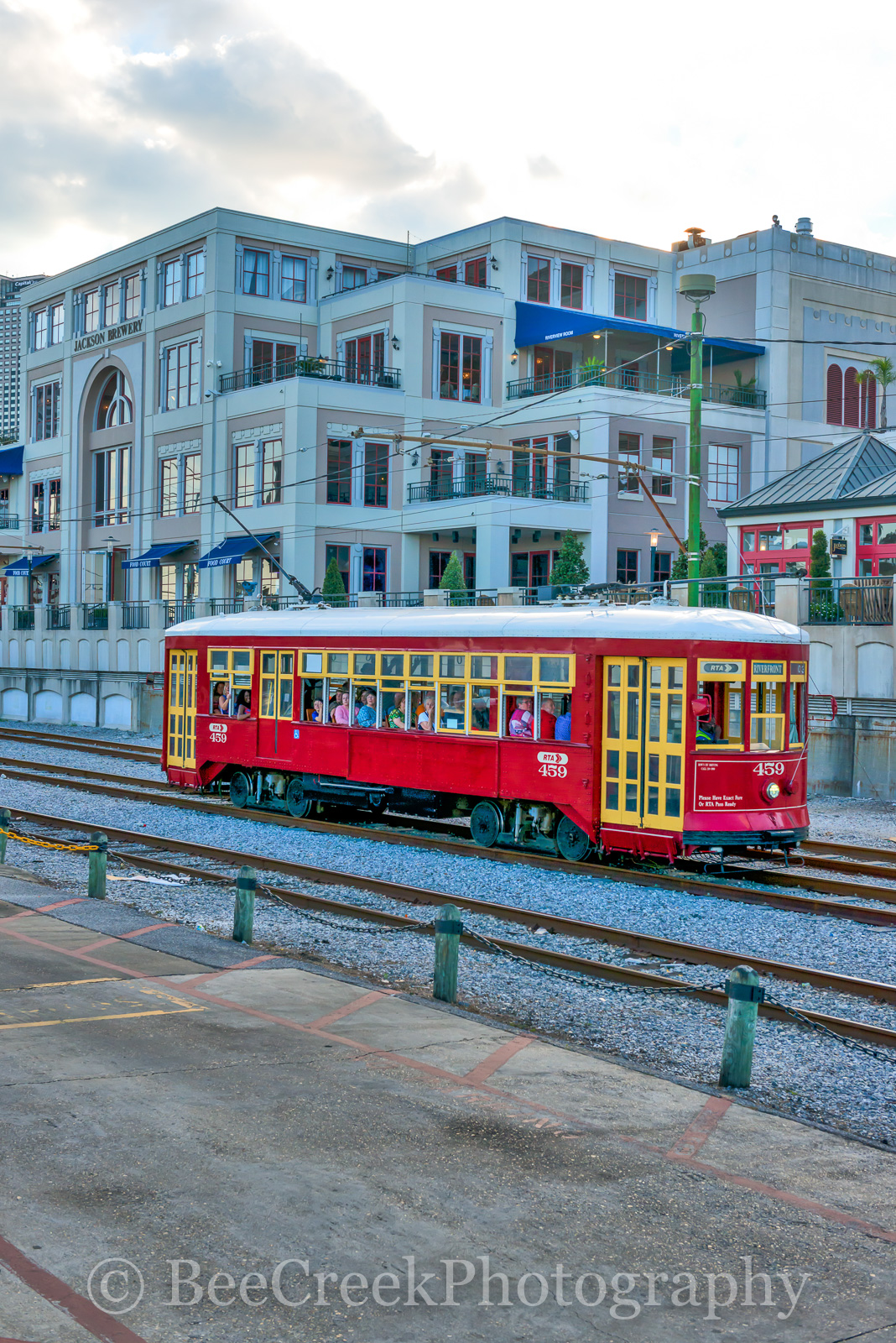 Jackson Brewery, New Orleands, red street car, transist, New Orleans cityscapes, , photo