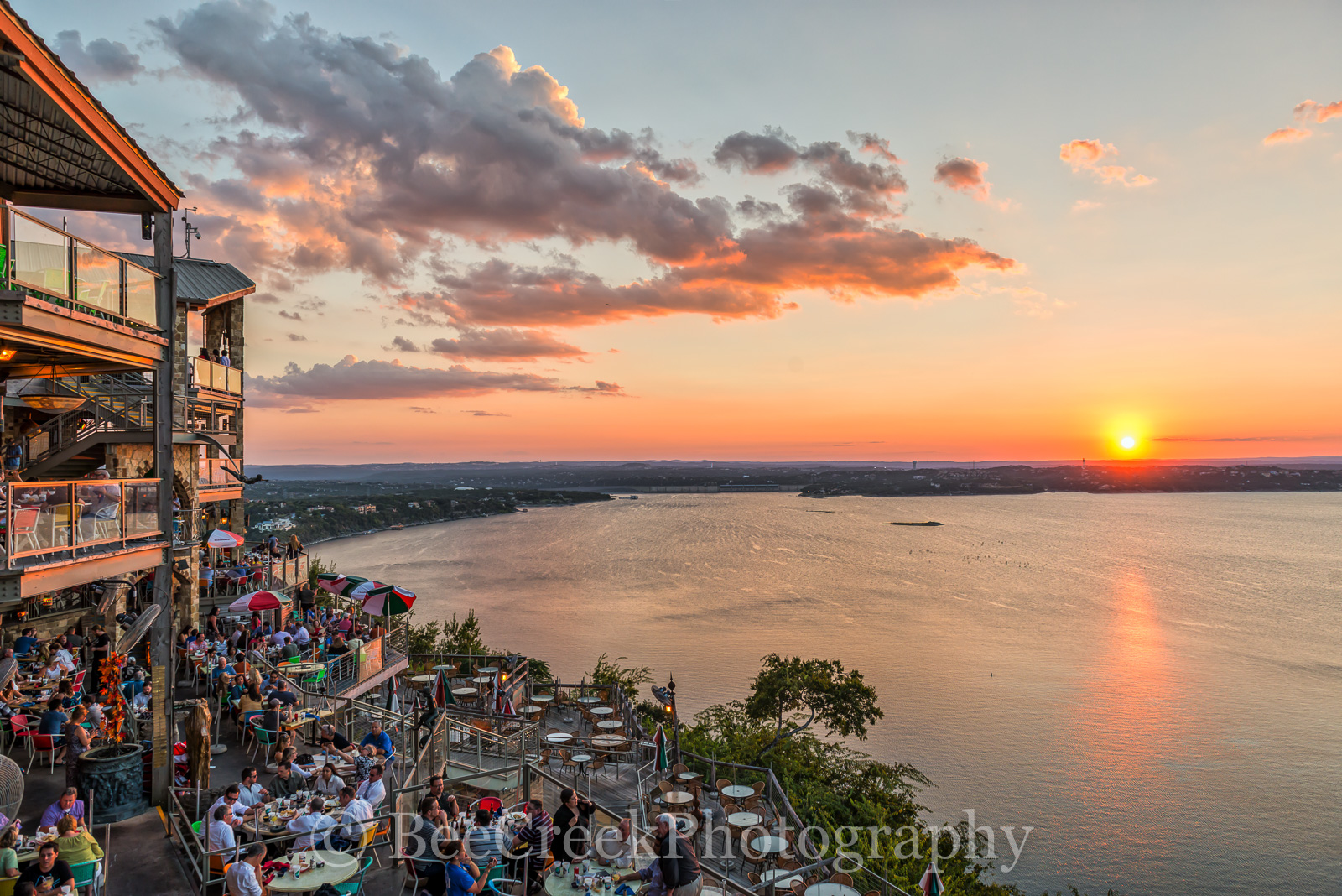Austin, Hill Country, Lake Travis, Oasis, boating, clouds, colorful, colors, landscape, landscapes, lifestyle, lifestyles, orange, people, reds, restaurant, sunset, sunsets, texas, tourist, water, photo