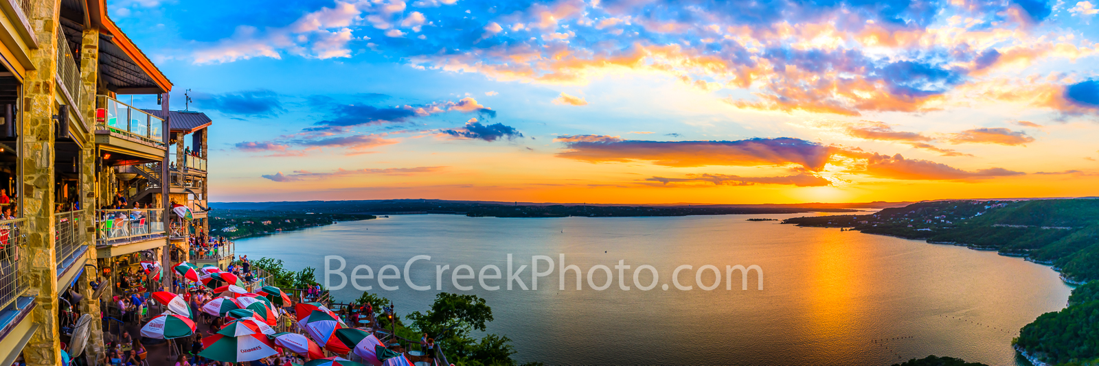 Oasis Sunset Panorama - Austin Lake Travis -  We have taken many images of the Oasis sunsets at Lake Travis outside of Austin...