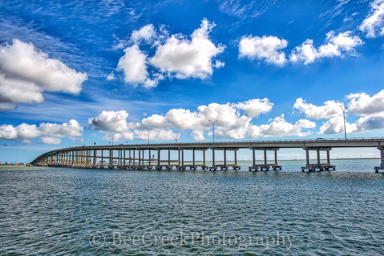 Padre Island Causeway-Bridge to Padre Island on pretty winter day.