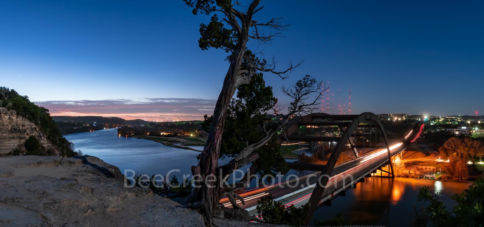 Austin, Pennybacker Bridge, sunrise, austin 360 bridge, lake austin, night, dark, cliffs, austin skyline, boating, urban, pano, panorama, early morning, architecture,, photo