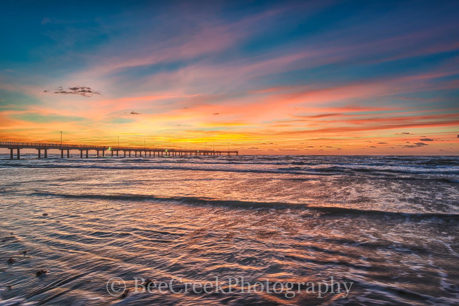 Caldwell pier, Port Aransas, Sunrise, Texas Coast, coastal, fishing, gulf of mexico, ocean beach, ripples sand, sea weeds, seascape, shore, surf, texas beaches, texas gulf, waves, fiery, red, orange, , photo