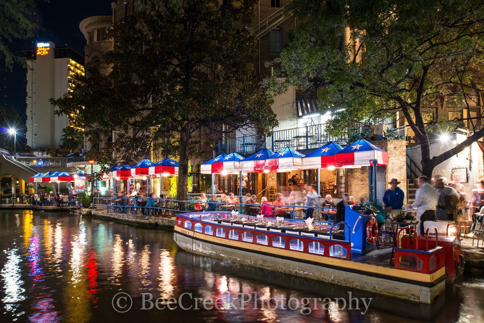 Republic of Texas, River Walk, SA, San Antonio, boats, dinning, night, restaurant, tour, water, photo