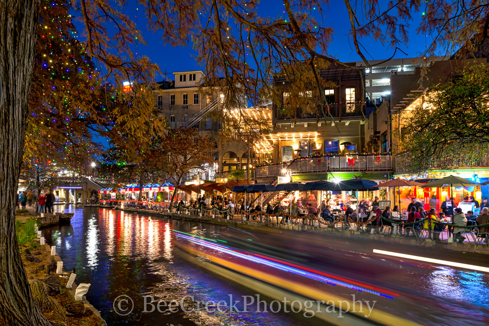Christmas, Christmas on the riverwalk, Riverwalk, San Antonio, boat decorations, city, colorful, decorations, holiday, lights, texas, trees, photo