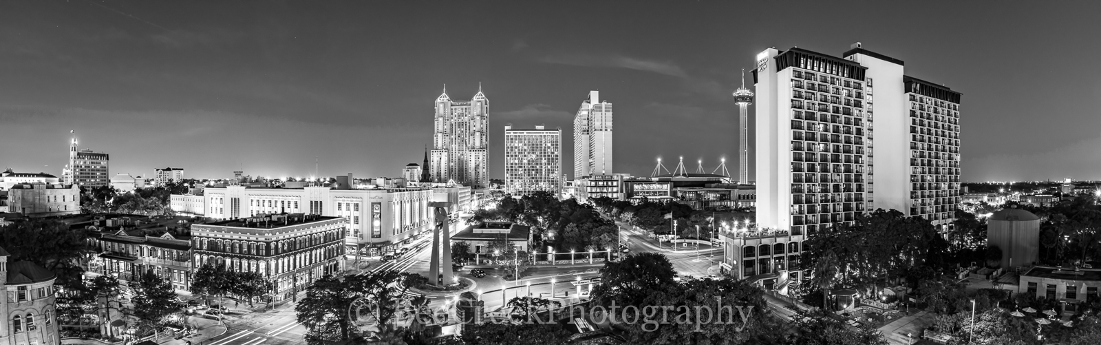 Grand Hyatt, Hilton, Marriott, Riverwalk, San Antonio, Tod Grubbs, Torch or Friendship, Tower of Americas, beecreekphotography, black and white, city, cityscape, cityscapes, destination, downtown, nig, photo
