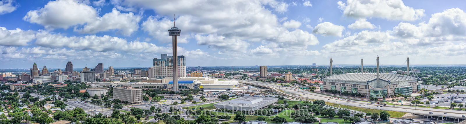 Alamo Dome, Grand Hyatt, Marriot, San Antonio, Tower Life high-rise, Tower of Americas, UT SA, aerial, bank of america, city, cityscape, cityscapes, downtown, skyline, skylines, aerial, drone,  urban,, photo