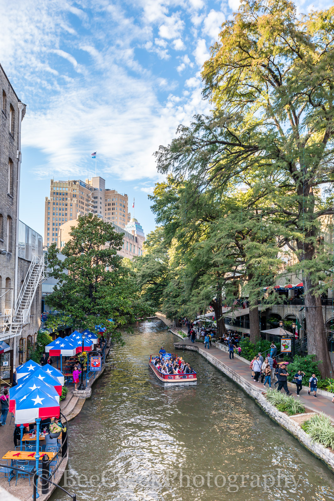 River Boat, River Walk, San Antonio, tall, vertical, city, cityscape, clouds, downtown, restaurant, restaurnts, sky, photo