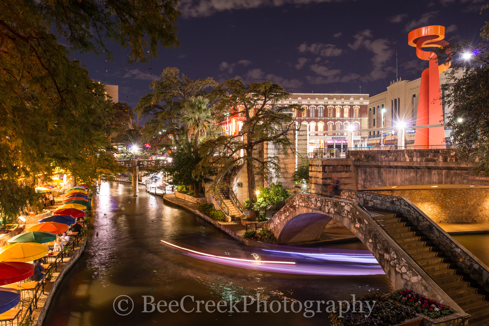 Cafe Ole, Light Trails, River Walk, San Antonio, Torch of Friendship, boat, cityscape, colorful umbrellas, night, photo