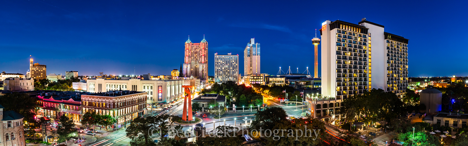 Grand Hyatt, Hilton, Marriott, San Antonio, Tod Grubbs, Torch or Friendship, Tower of Americas, beecreekphotography, city, cityscape, cityscapes, destination, downtown, night, pano, panorama, riiverwa