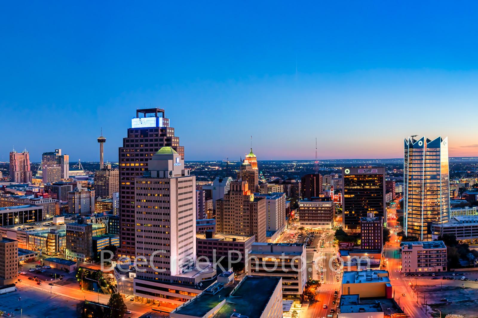 sunset, twilight, dusk, San Antonio skyline, San Antonio, texas, downtown, Frost Tower, Frost, Life, building, downtown san antonio, cityscape, urban, skyline,, photo