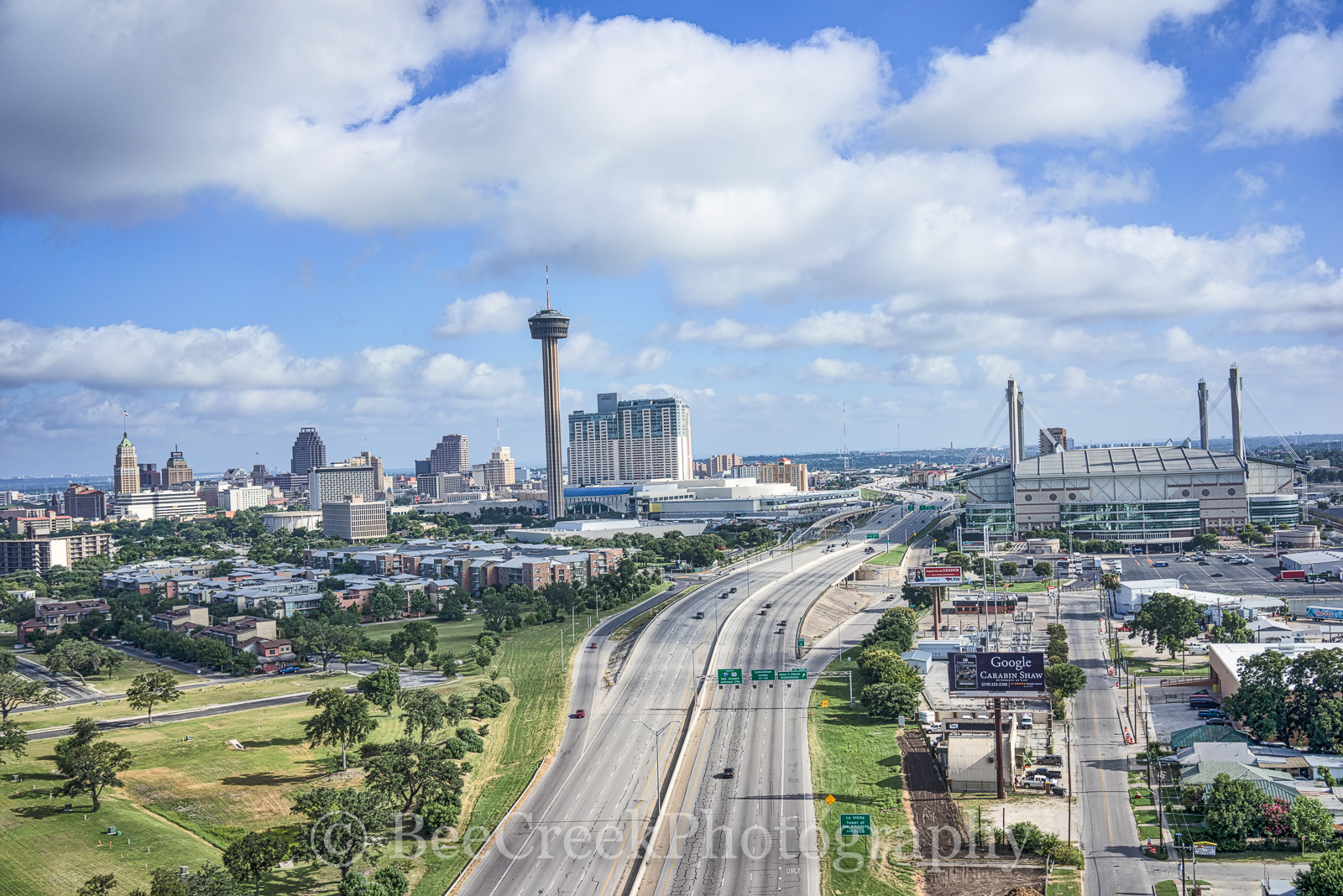 Alamo Dome, Bank of American Plaza, Grand Hyatt, Henry B Gonzales convention, Marriott, River Walk, San Antonio, Tower Life building, Tower of Americas, UT SA, aerial, cityscape, scapes, skyline, skyl, photo