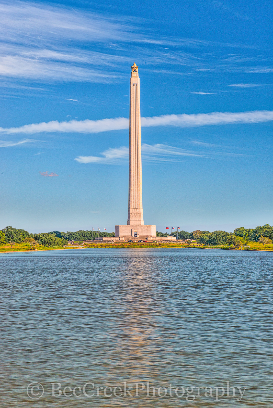 Houston, San Jacinto Monument,  La Porte, blue, city, fountain, historic, landmark, ship channel, sky, water, photo