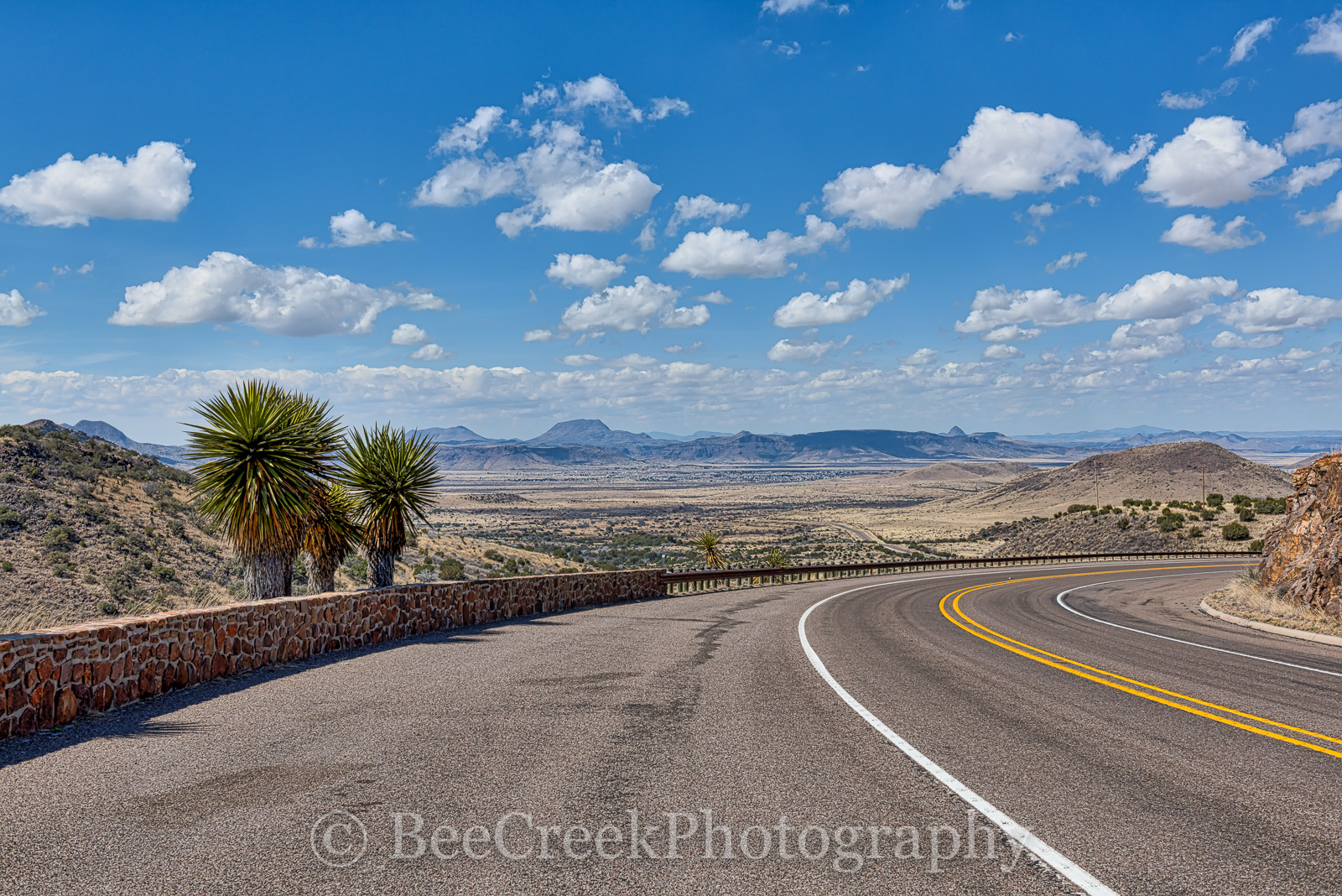 Alpine, Road, blue, clouds, overlook, puffy, scenic, sky, yuccas, texas, west texas, , photo
