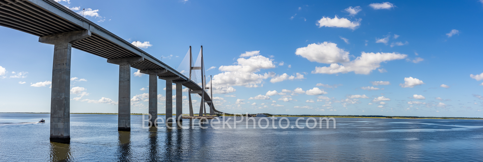 Sidney Lanier Bridge Pano Georgia - Sidney Lanier Bridge is a cable stay bridge that spans the Brunswick river in Georgia. The...