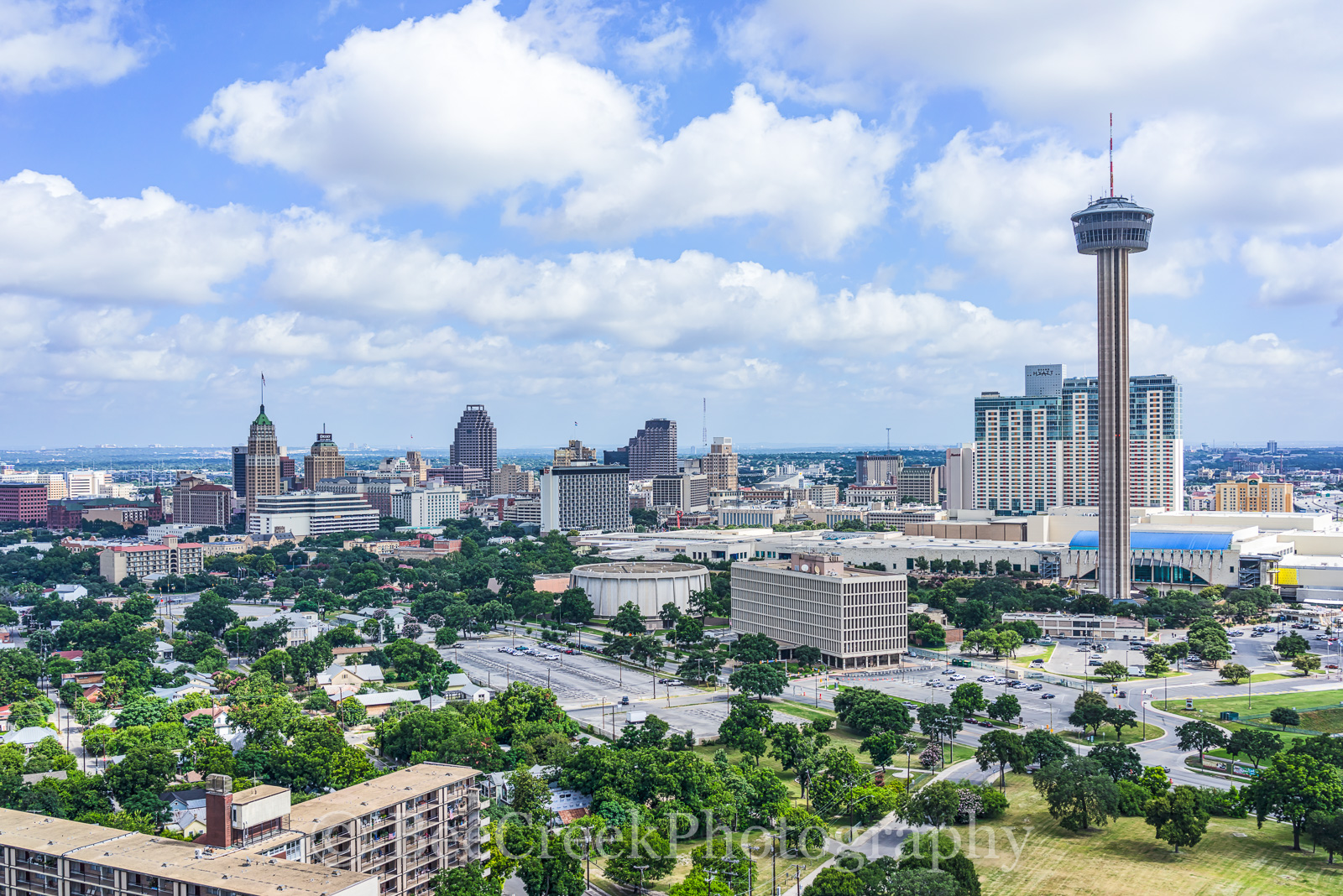 Bank of Americas, Convention Center, Grand Hyatt, Hemisphere, Marriott, River Walk, San Antonio, Tower Life building, Tower of Americas, Weston Center, aerial, city, day, cityscape, downtown, skyline,, photo