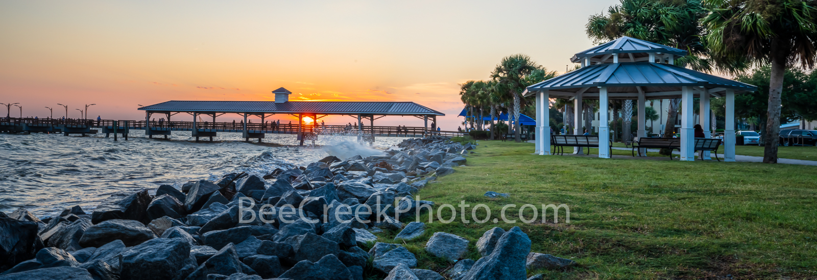 St. Simon Pier, sunset, gazebo, sun set, waters, east coast, golden isles barrier island, beach, tourist, pano, panorama, , photo