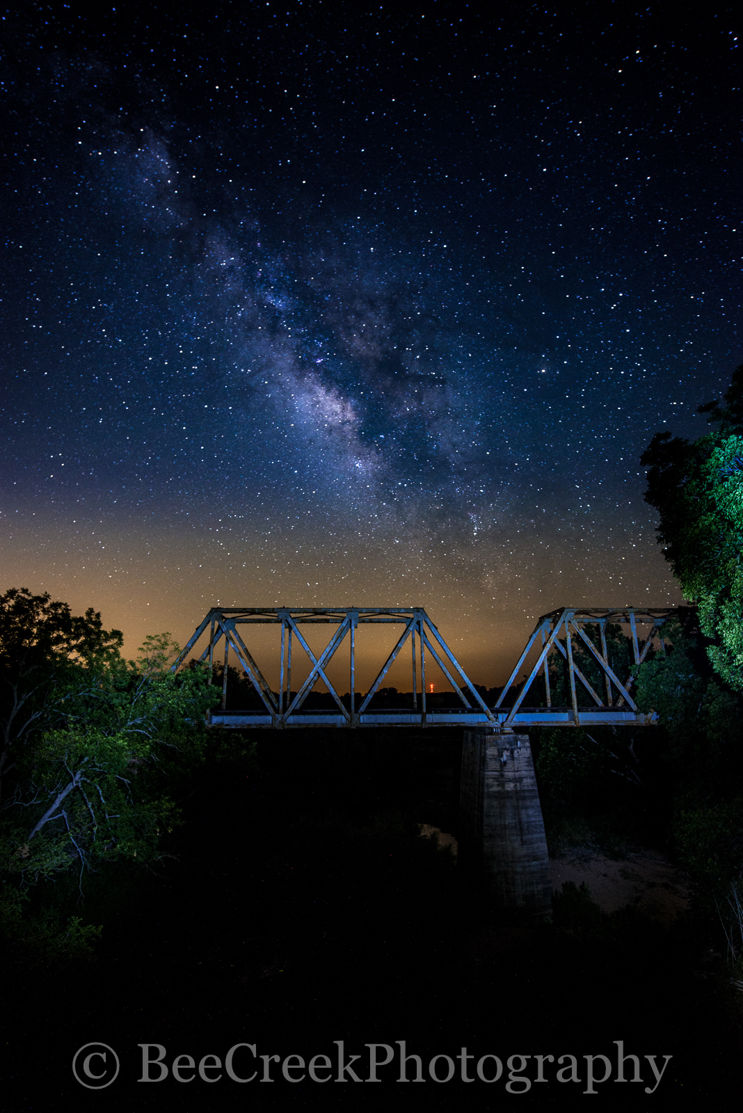 Fine Art photo, Night Stars over railroad bridge, astronomy photography, celestial, dark skies, galaxy, galaxy over bridge, landscape, light pollution, milkway over texas railroad bridge, milky way, n, photo