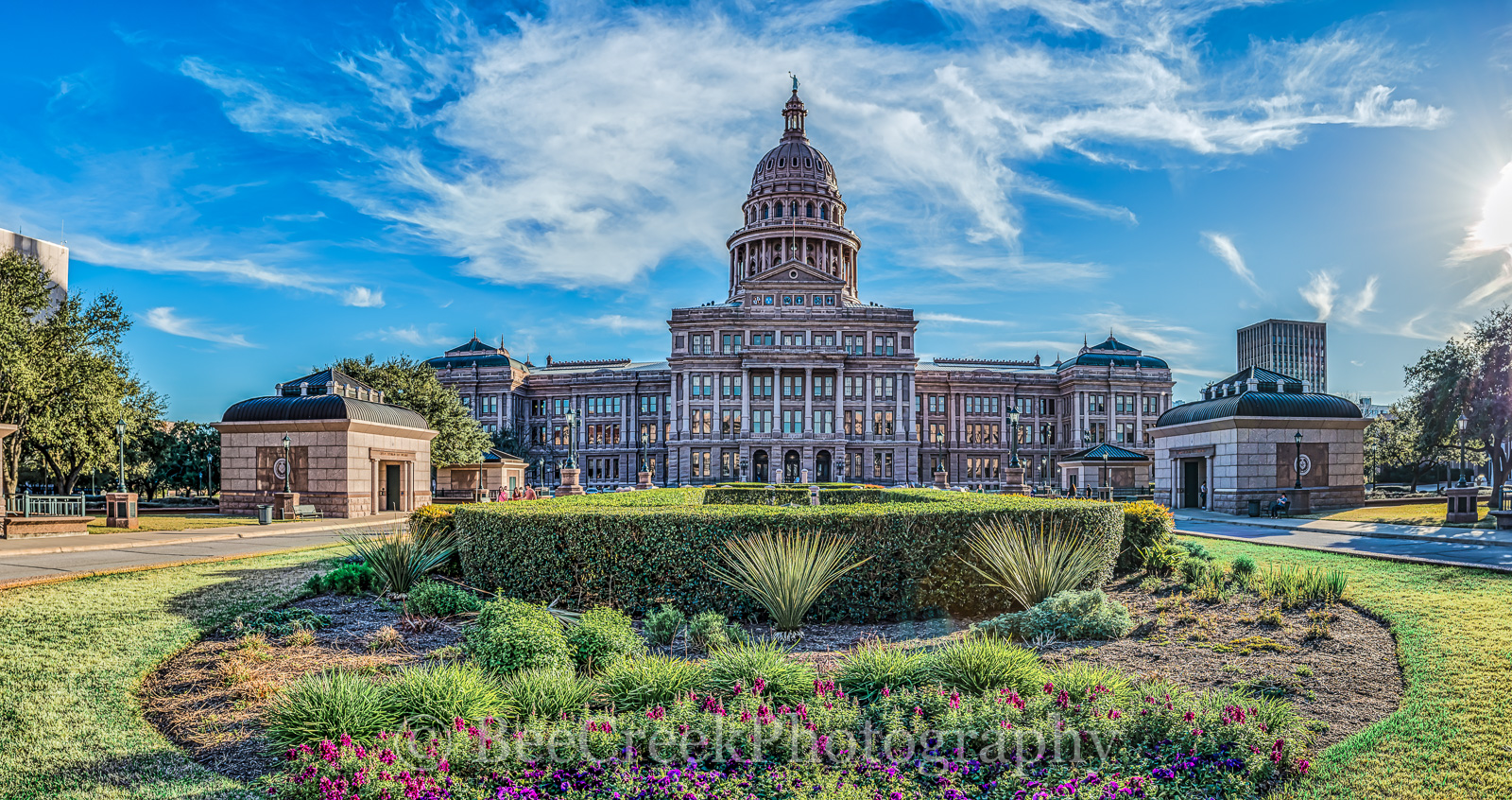 State Capitol Pano - Another capture of the Texas State Capitol with some nice blue sky and clouds hoovering over the dome. A...