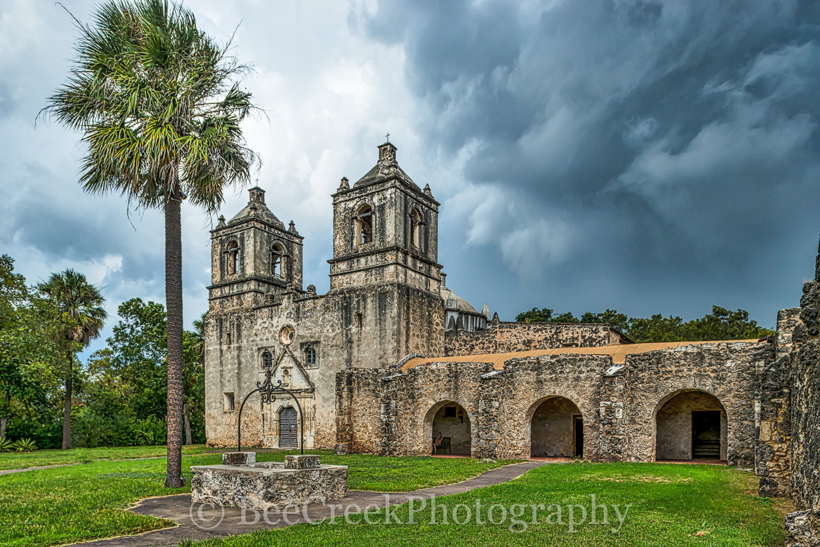 Battle of Concepcion, Mission ConcepciÛn, National Historic Landmarks, San Antonio, downtown, historic, indians, landmark, mexicans, spanish missions, stormy skies, texas missions, texians, world heri, photo