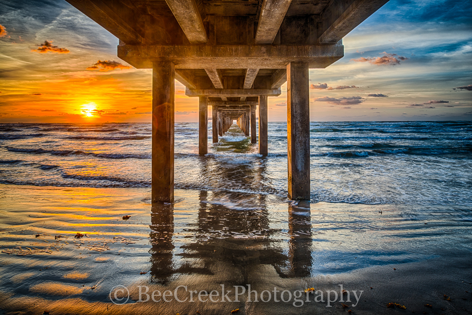 Caldwell pier, Port A, Texas pier, texas piers, Port Aransas, Sunrise, Texas Coast, Texas beach, Texas coastal landscape, beach, beach ocean, coast, coastal, colorful sunrise, fishing pier, gulf of me, photo